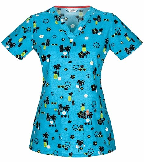 Code Happy Women's  V-Neck Printed Scrub Top-46615CA