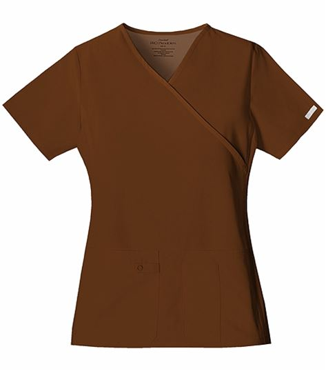 Cherokee Flexibles Women's  Mock Wrap Stretch Side Scrub Top-2824