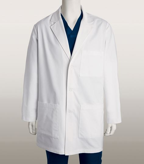 "ICU by Barco Men's 37"" 6 Pocket White Lab Coat-0912"
