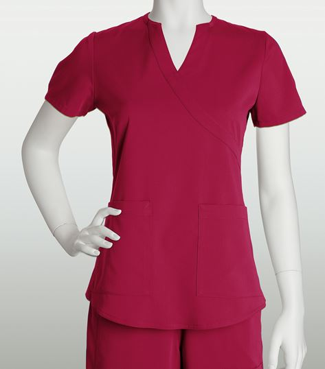 NRG by Barco 2 Pocket Mock Wrap Top With Side Panels 3119
