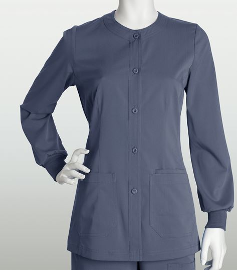 NRG by Barco Women's Button Front Fitted Warm-Up Scrub Jacket-3414