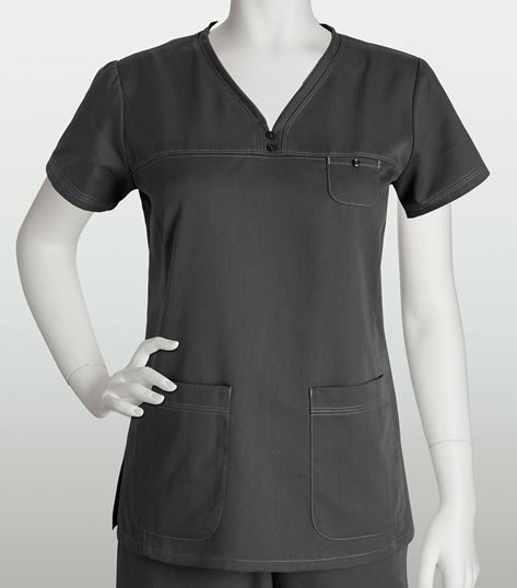 Grey's Anatomy Women's Solid V-Neck Scrub Top With Stitching-41340