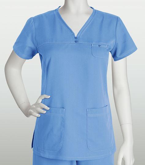 Grey's Anatomy Women's Solid V-Neck Scrub Top With Stitching-41340