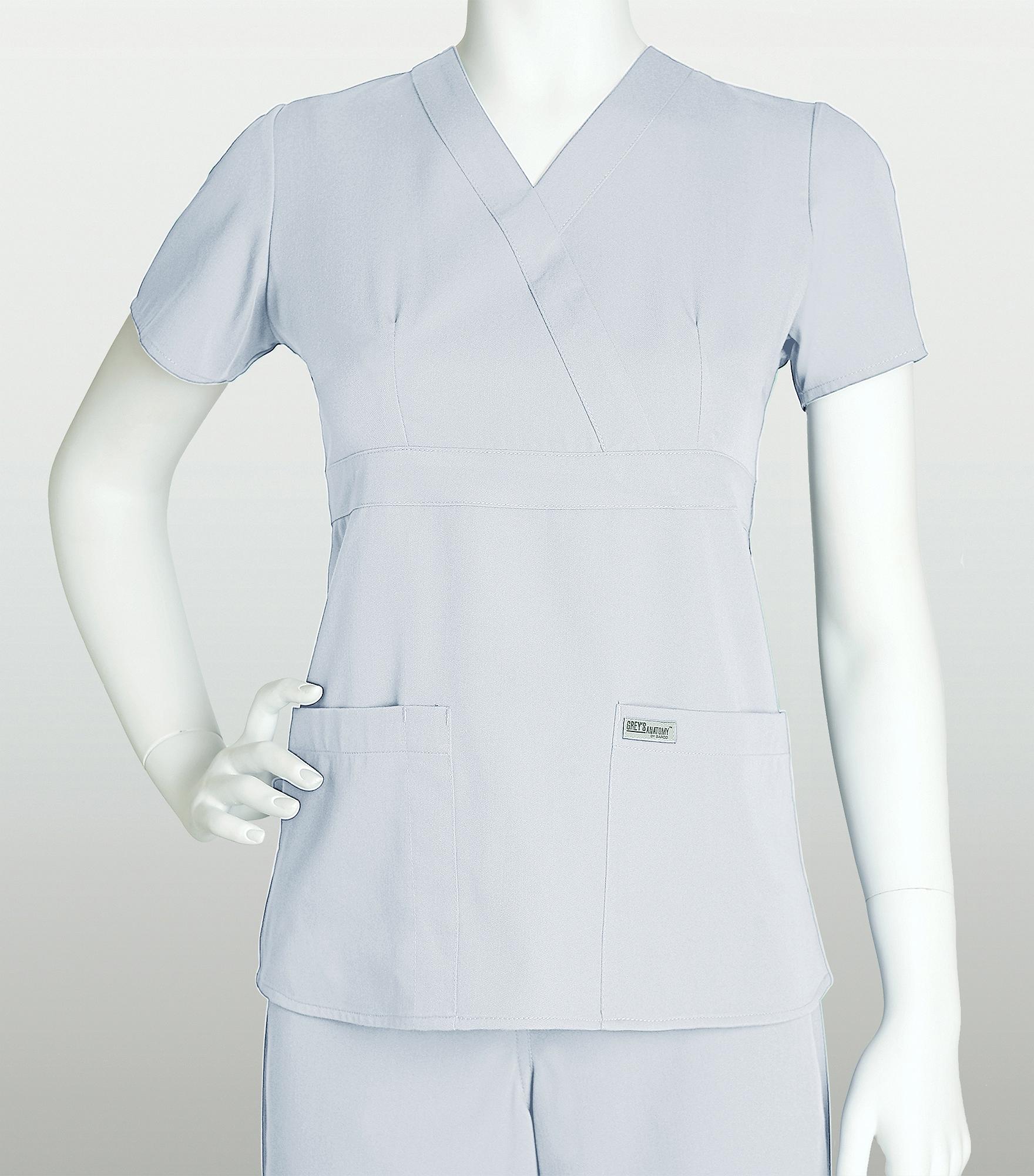 Greys Anatomy Womens Mock Wrap Empire Waist Scrub Top 4153