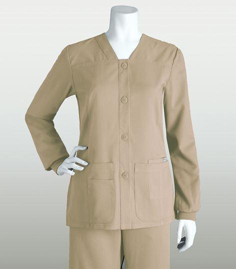 Grey's Anatomy Women's Junior Fit Button Up Warm-Up Scrub Jacket-4435