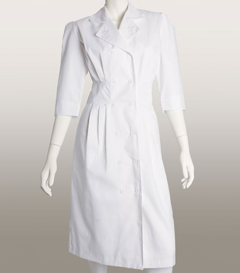 Prima by Barco 3/4 Sleeve Button Front White Scrub Dress-58505