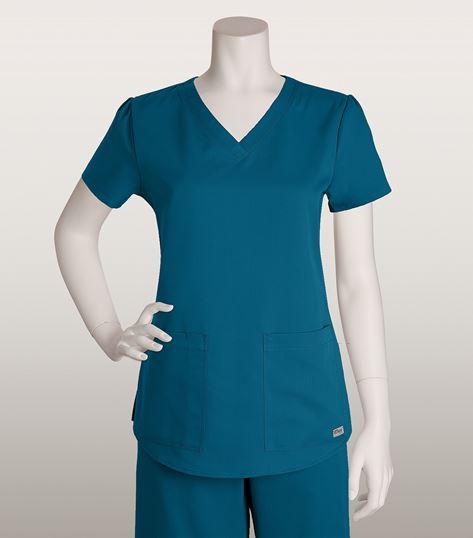 Grey's Anatomy 2 Pocket V-neck Top With Shirred Back 71166