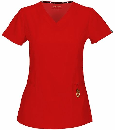 HeartSoul Women's V-Neck Solid Scrub Top-20972A
