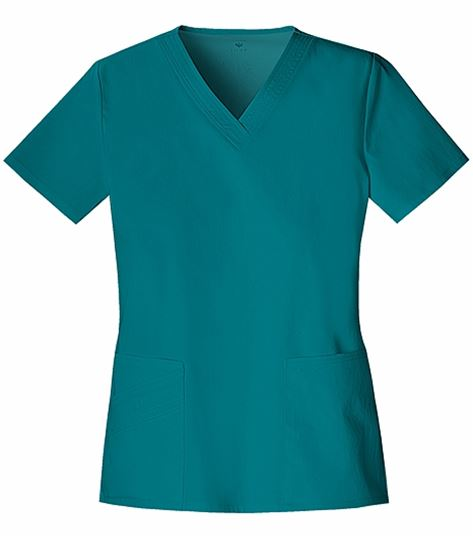 Cherokee Luxe Women's V-Neck Scrub Top With Zigzag Stitching-1845