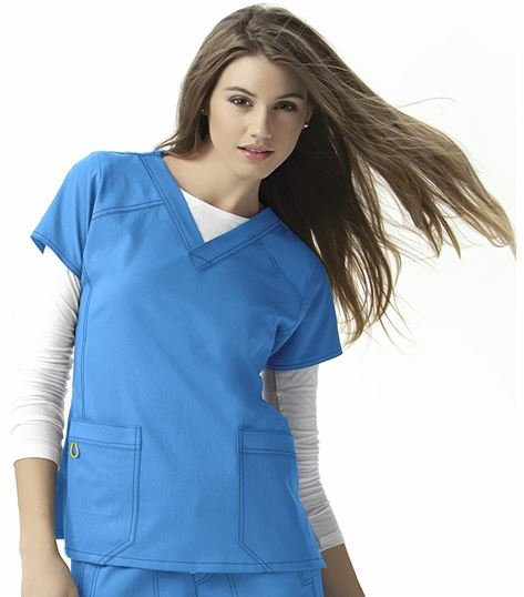 WonderWink Four-Stretch Women's Solid V-Neck Scrub Top-6214