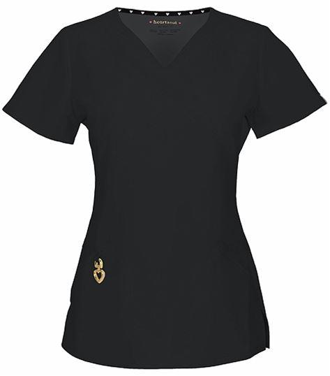 HeartSoul Women's V-Neck Solid Scrub Top-20971A