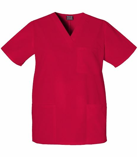 Cherokee WorkWear Unisex V-Neck Solid Scrub Top-4876