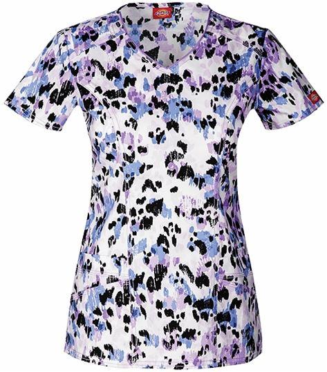 Dickies GenFlex Women's V-Neck Printed Scrub Top-82859