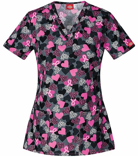 Dickies EDS Women's  V-Neck Printed Scrub Top-84754C