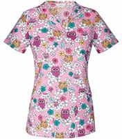 Code Happy Women's V-Neck Owl Print Scrub Top-CH604X5A