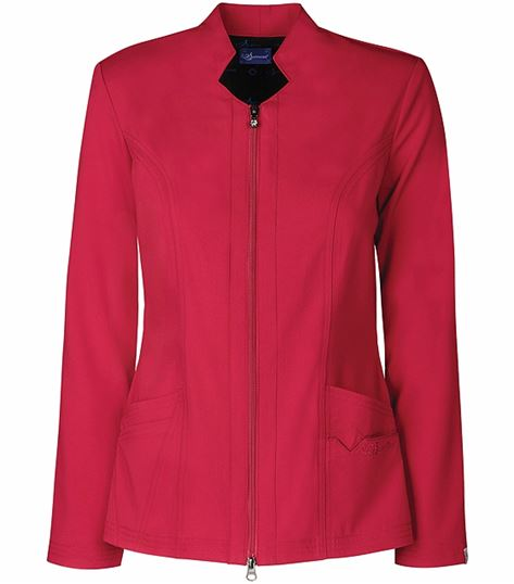 Sapphire Women's Solid Scrub Jacket With Zipper-SA300A
