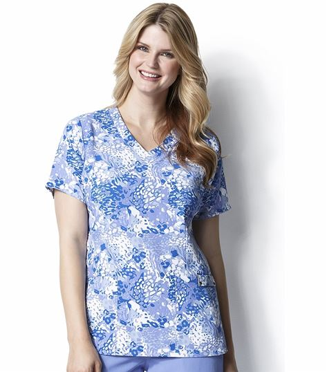 WonderWink Easy Fit Women's Printed V-Neck Scrub Top-9027