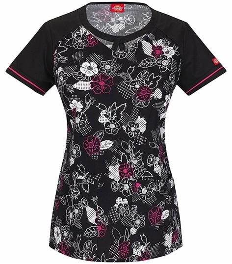 Dickies Women Round Neck Floral Print Scrub Top-85908