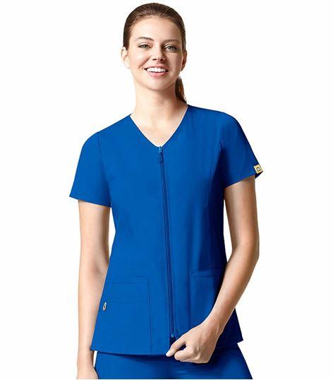 Wonderwink Origins Women's Short Sleeve Zip Up Scrub Jacket-6086