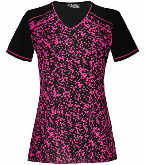 Cherokee Runway Women's V-Neck Print Scrub Top-3677