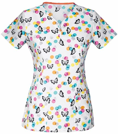 Code Happy Women's Print V-Neck Scrub Top With Zipper-CH607X5A