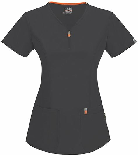 Code Happy Women's V-Neck  Zip Front Scrub Top-46600AB