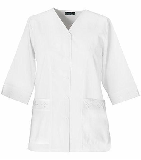 Cherokee Women's 3/4 Sleeve Embroidered Warm Up Scrub Jacket-1949