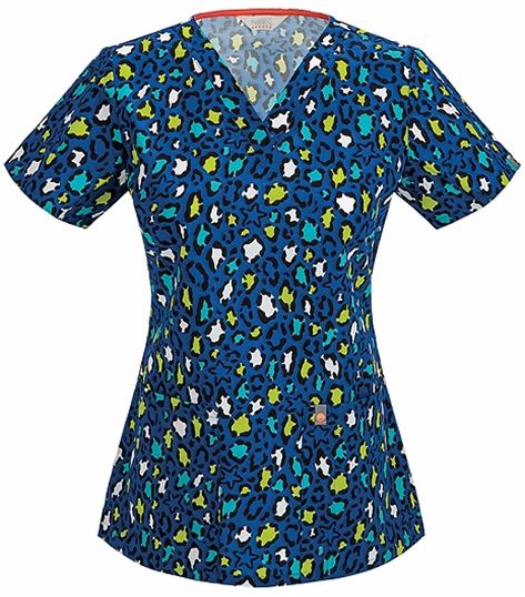 Code Happy Women's V-Neck Printed Scrub Top-46613A