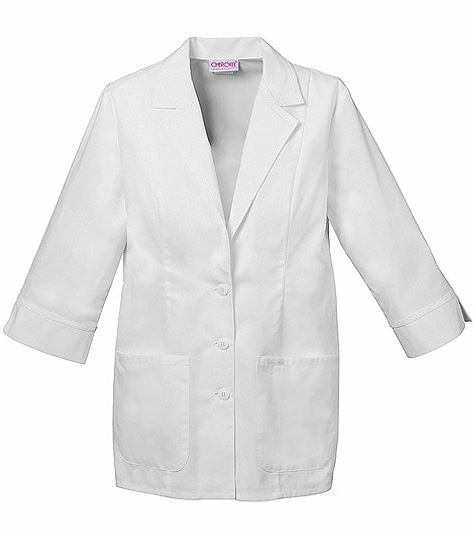 """Cherokee Women's  29"""" 3/4 Sleeve White Lab Coat With Cuffs-2330"""