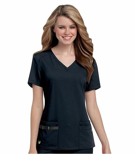Urbane Women's V-Neck Solid Scrub Top-9044