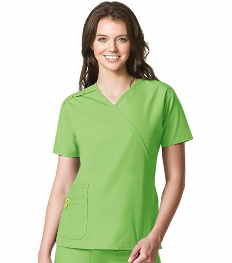 Wonderwink Origins Women's Mock Wrap Solid Scrub Top-6076