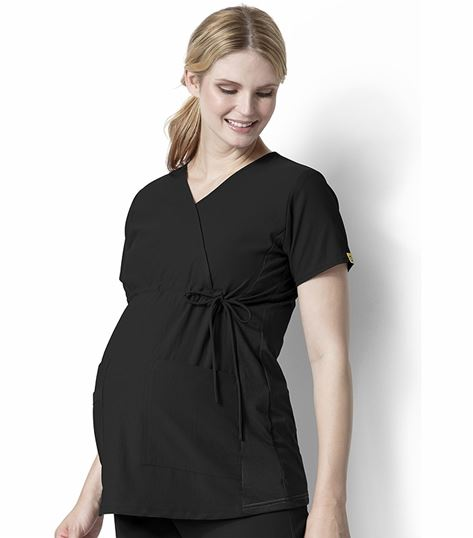 WonderWink Four-Stretch Maternity Stretch Mock Wrap Scrub Top-6445