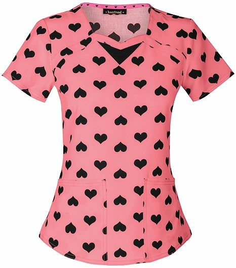 HeartSoul Women's Printed Scrub Top With Sweetheart Neck-20902
