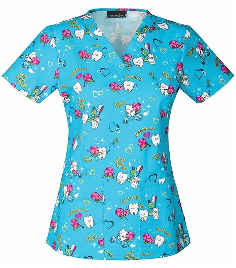 Cherokee Women's Dental Print V-Neck Scrub Top-42700V