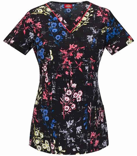 Dickies Women's Printed V-Neck Scrub Top-85984
