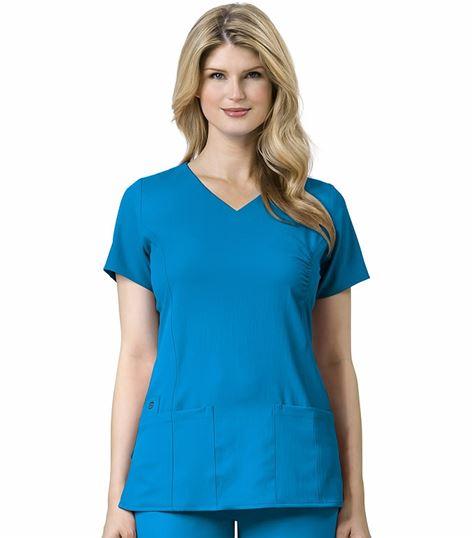 WonderWink Easy Fit Women's Solid Mock Wrap Fashion Scrub Top-6225
