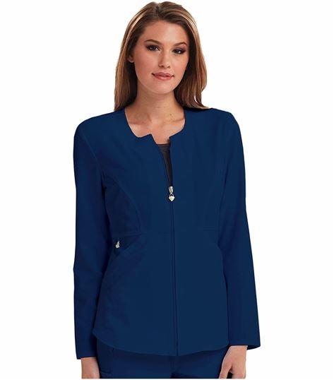 Careisma Women's Zip Front Solid Scrub Jacket-CA300