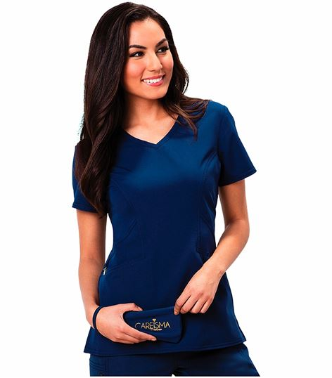 Careisma Women's V-neck Solid Scrub Top-CA601