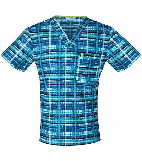 Code Happy Men's V-Neck  Print Scrub Top-CH605X5A