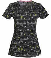 HeartSoul Women's  V-neck Print Scrub Top-HS610X3