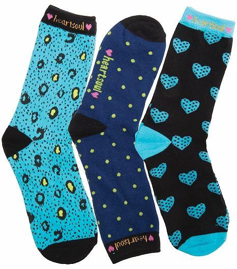 HeartSoul Footwear 1-3pr Pk Of Crew Socks OCEANBREEZE