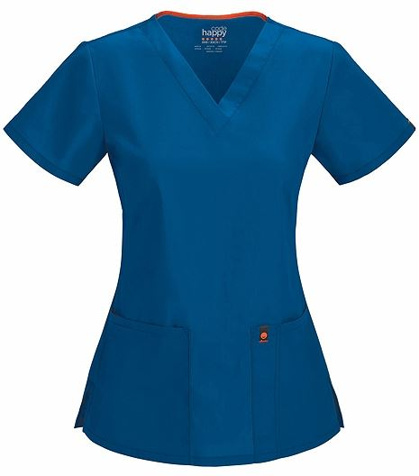 Code Happy Women's V-Neck Solid Scrub Top-46607AB