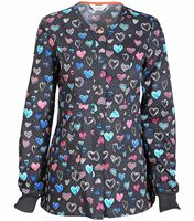 Code Happy Women's Snap Front Heart Print Scrub Jacket-CH300X14A