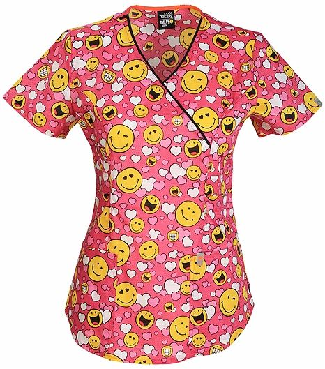 Code Happy Women's Antimicrobial Mock Wrap Print Scrub Top-CH611X8A