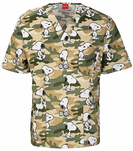 Cherokee Tooniforms Unisex V-Neck Cartoon Print Scrub Top-6876C