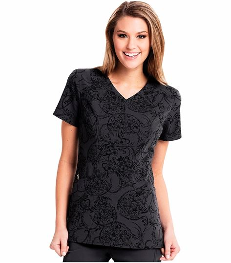 Careisma Women's Paisley Print V-Neck Scrub Top-CA601X15