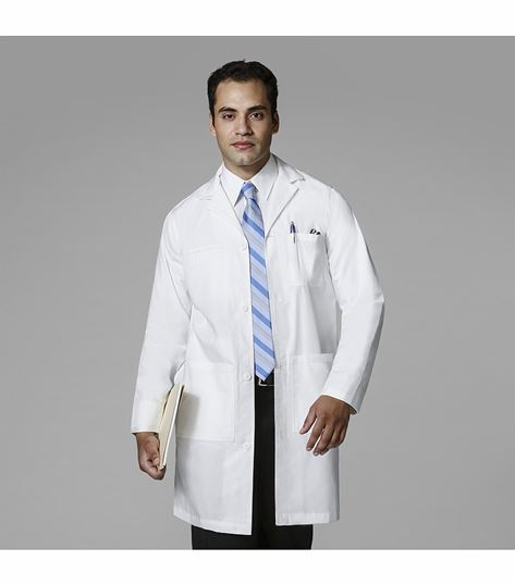 WonderWink  Men's Button Front White Lab Coat-7507