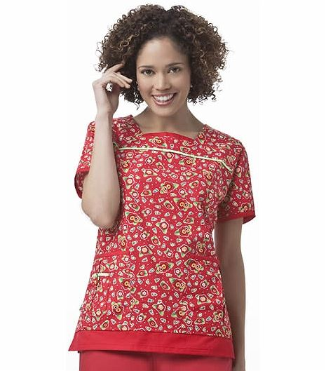 ad7adc40be1 Mary Engelbreit Printed Square Neck Top M3047 | Medical Scrubs Collection
