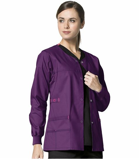 WonderWink WonderFLEX Women's Snap Up Warm-Up Scrub Jacket-8108