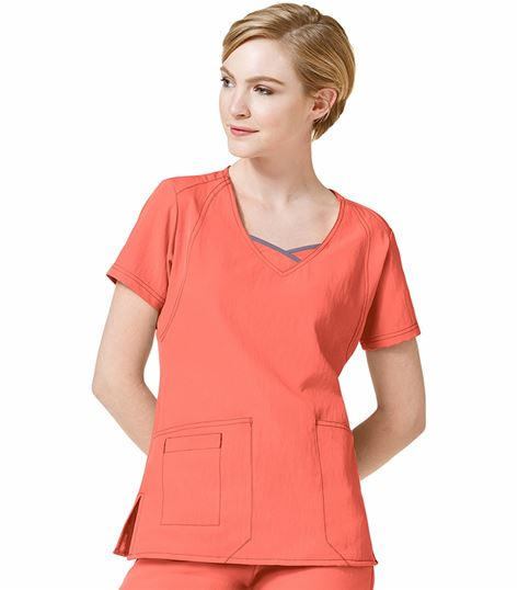 Wonderwink Four-Stretch Women's Solid Fashion Scrub Top-6614